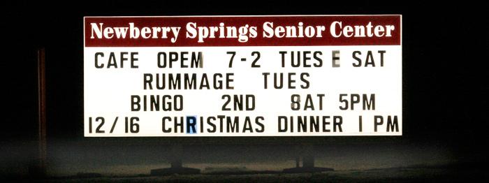 Newberry Springs Senior Center Sign